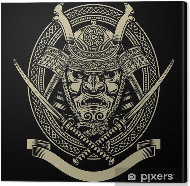 Canvas Samurai krijger met katana zwaard -