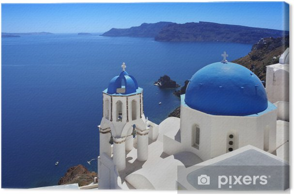 Canvas Santorini met traditionele kerk in Oia, Griekenland - Thema's