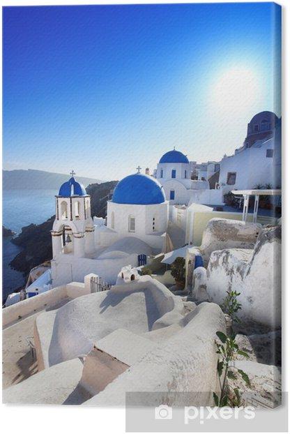 Canvas Santorini met traditionele kerken in Oia, Griekenland - Thema's