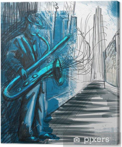 Canvas Saxofonist (full-size hand tekenen - origineel) - jazz