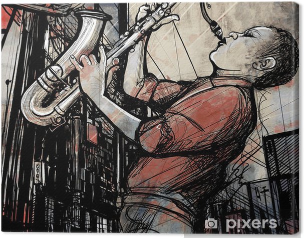 Canvas Saxofonist in een straat 's nachts - jazz