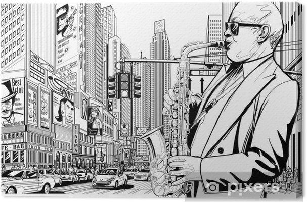 Canvas Saxofonist in een straat van New-York - jazz
