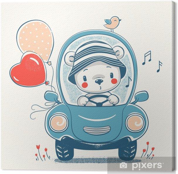 Design Kinderkleding.Canvas Schattige Baby Beer Rijdende Auto Cartoon Hand Getrokken