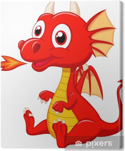 Canvas Schattige baby draak cartoon - Muursticker