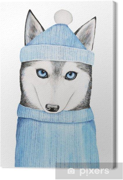 Warme Trui.Canvas Schattige Husky Hond In Een Blauwe Muts En Warme Trui Een