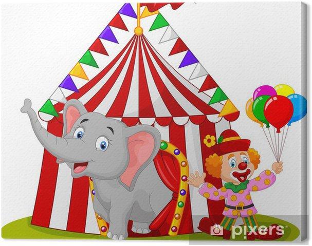 Canvas Schattige olifant cartoon en clown met circus tent__ - Zoogdieren