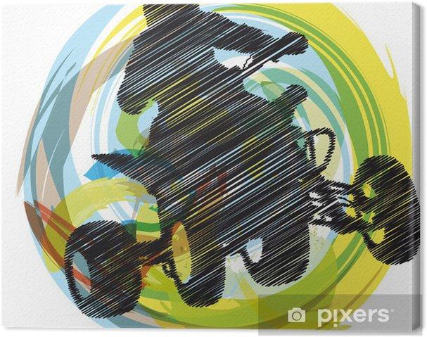 Canvas Schets van Sportman rijden quad bike - Extreme sport