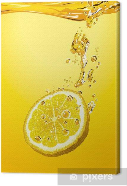 Canvas Schijfje citroen met bubbels -