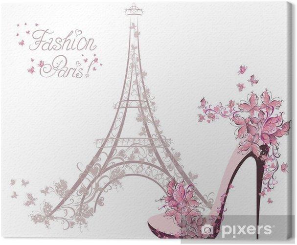 Canvas Schoenen met hoge hakken op de achtergrond van de Eiffeltoren. Paris Fashion - Mode