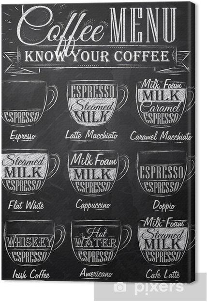 Canvas Set van koffie menu met een kopjes koffie krijt - Café