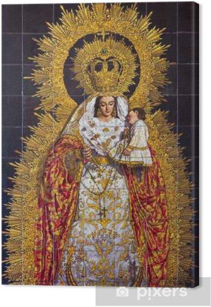 Canvas Sevilla - De keramische tegels Madonna - Reizen