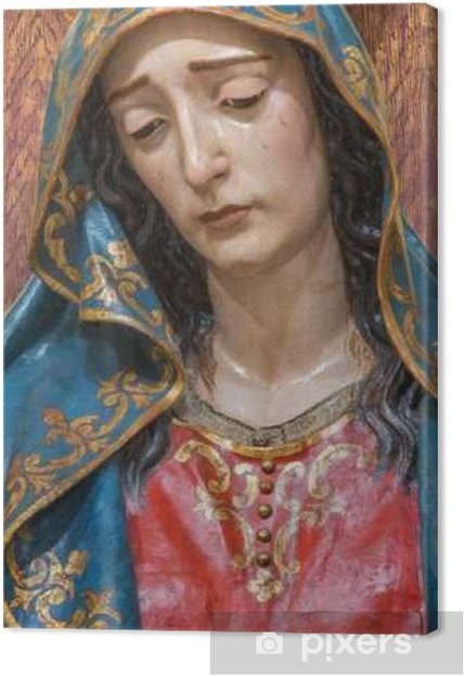Canvas Sevilla - Het detail van Cried Mariabeeld - Reizen