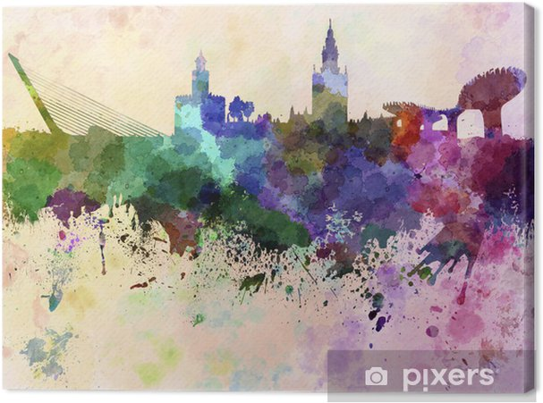 Canvas Sevilla skyline in aquarel achtergrond - Thema's