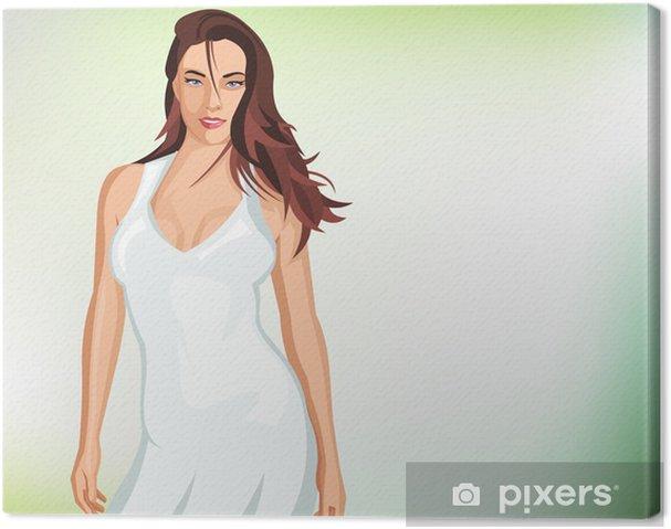 te koop Britse winkel ongeslagen x Canvas Sexy meisje draagt witte jurk