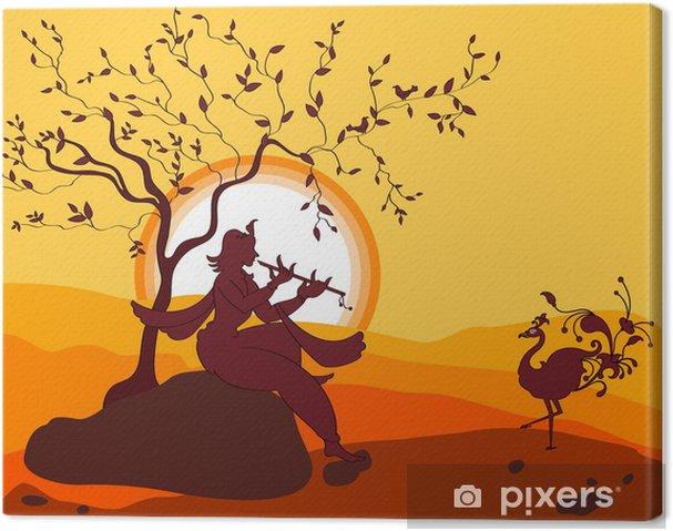 Canvas Shadow Art Shri Krishna Spelen Fluit, Peacock dansen - Stijlen
