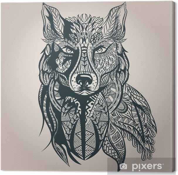 Canvas Sier decoratieve wolf, roofdier, patroon, Isolated - Zoogdieren