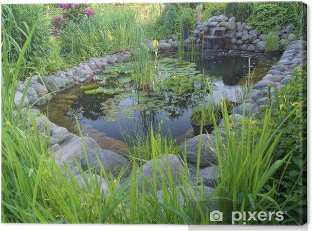 Waterval In Tuin : Canvas sier vijver met waterval in de tuin u2022 pixers® we leven om