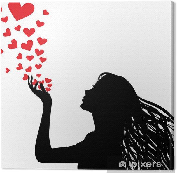 Canvas Silhouet vrouw blazen hart - Muursticker