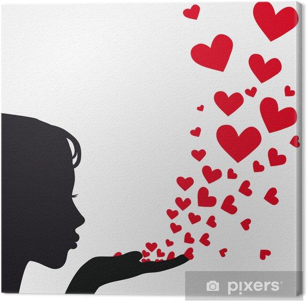 Canvas Silhouet vrouw blazen hart - Lichaamsdelen