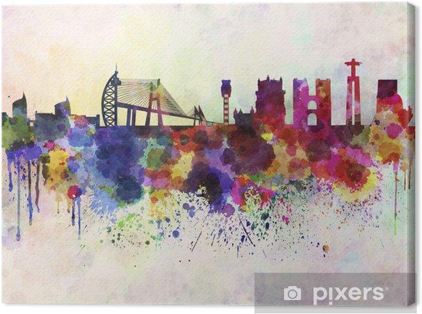 Canvas Skyline van Lissabon in aquarel achtergrond - Thema's