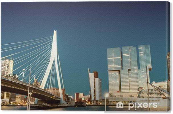Canvas Skyline van Rotterdam van Erasmusbrug - Thema's