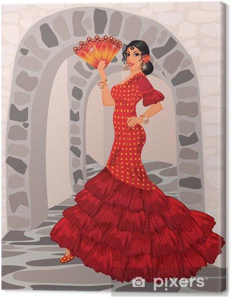 Canvas Spaanse vrouw in de stijl van een flamenco - Mode