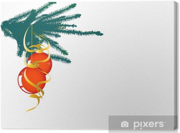 Canvas Sparren takje met twee kerstballen - Internationale Vieringen