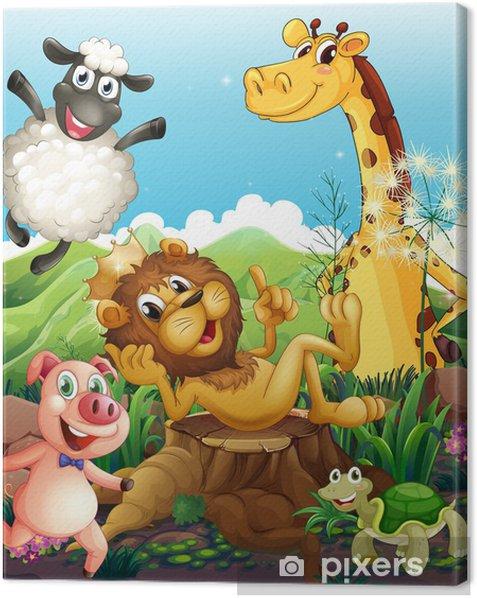 Canvas Speelse dieren - Zoogdieren