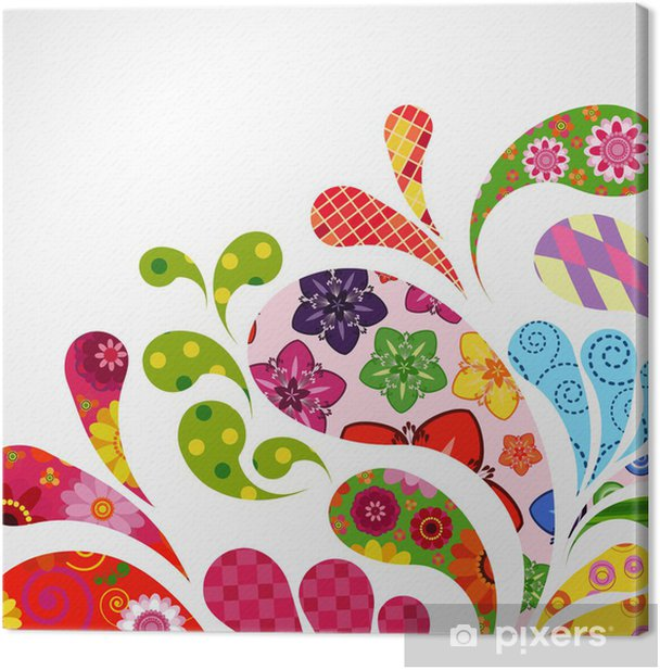 Canvas Splash van bloemen en sier druppels achtergrond. - Achtergrond