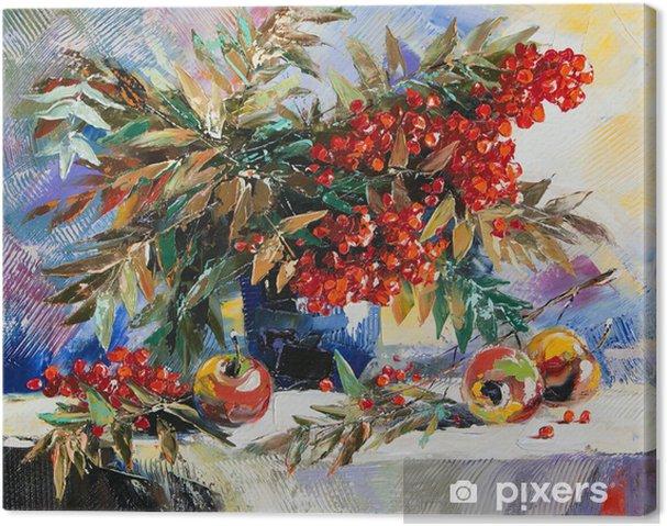 Canvas Stilleven met een berg as en appels - Bloemen