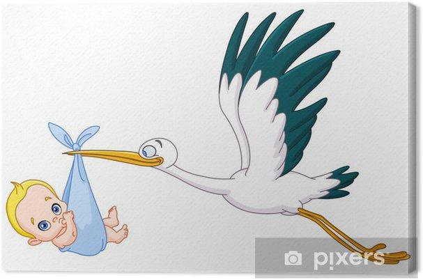 Canvas Stork en baby boy - Baby's