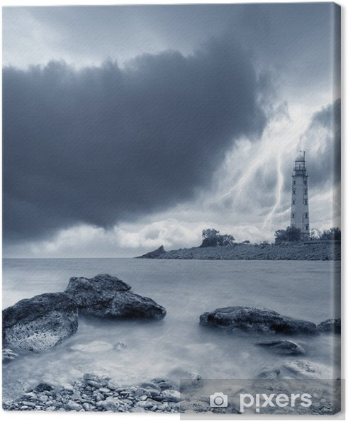 Canvas Storm op zee. - Natuurrampen