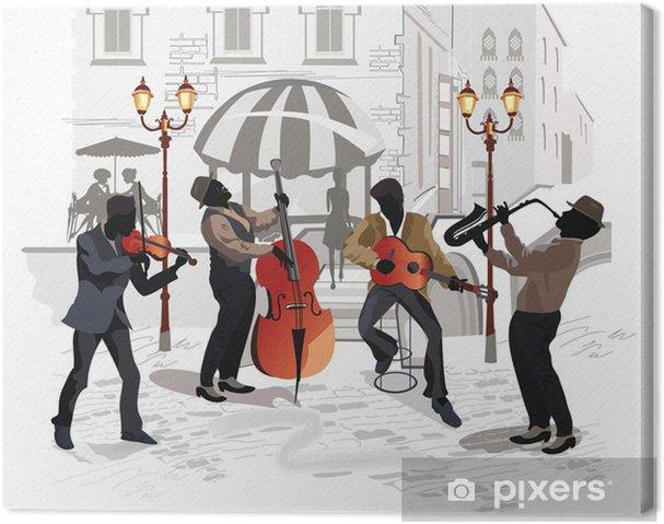 Canvas Straat cafe met muzikanten - Thema's