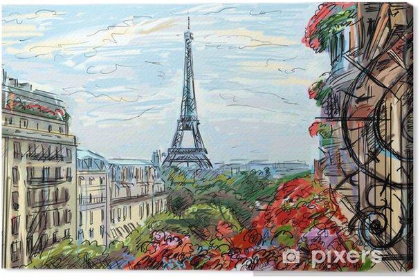 Canvas Straat in Parijs - illustratie - Thema's