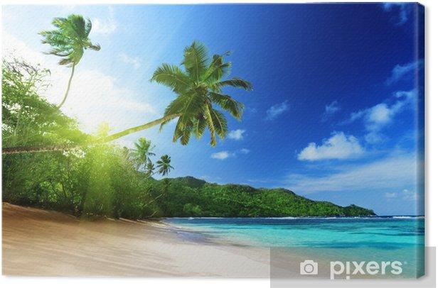 Canvas Strand bij zonsondergang tijd op Mahe eiland in de Seychellen - Thema's