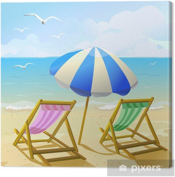 Canvas Strand met parasol en twee ligstoelen • Pixers® - We leven om te  veranderen