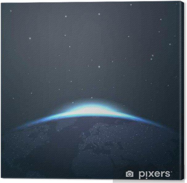 Canvas Sunrise horizon over de aarde vanuit de ruimte met sterren en lichten vector illustratie - Grafische Bronnen
