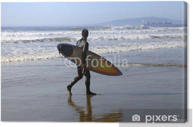 Canvas Surfer op een kustlijn - Individuele sport