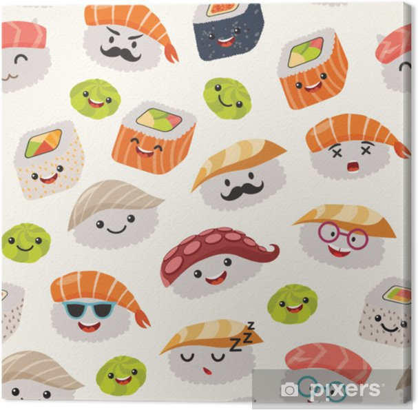 Canvas Sushi emoji naadloze patroon, cartoon stijl. karakter van emoticon kawaii. hand teken leuke Japanse voedselobjecten. behang met gezichts voedsel pictogram. kleurrijke vector achtergrond - Eten