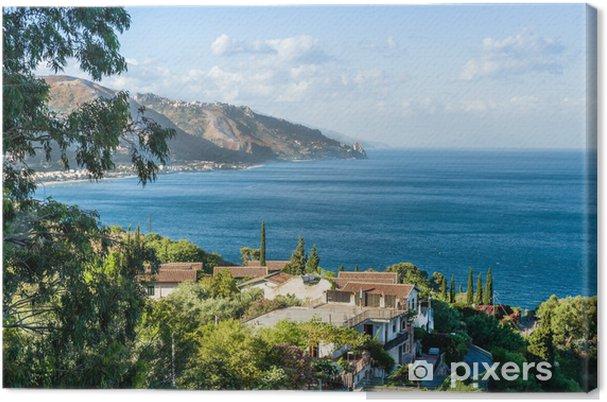 Canvas Taormina, Sicilië, Prachtig uitzicht op zee. - Vakantie
