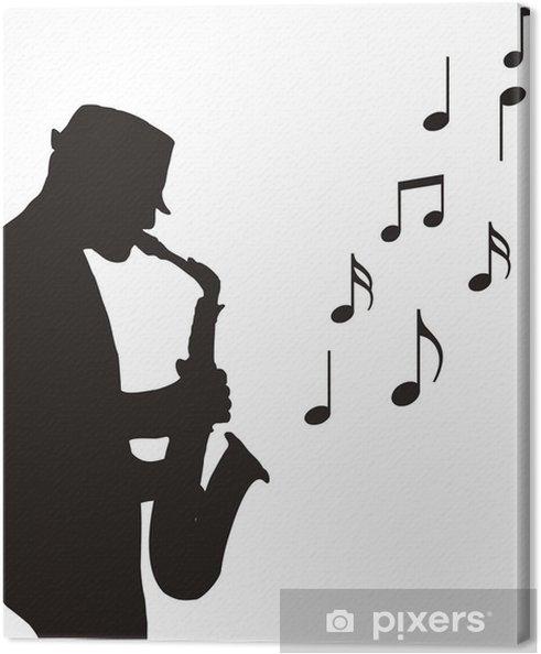 Canvas Tekening saxofonist - jazz