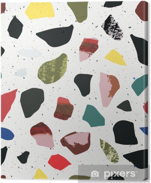 Canvas Terrazzo naadloos patroon. levendige en zure kleuren. marmeren. - Grafische Bronnen