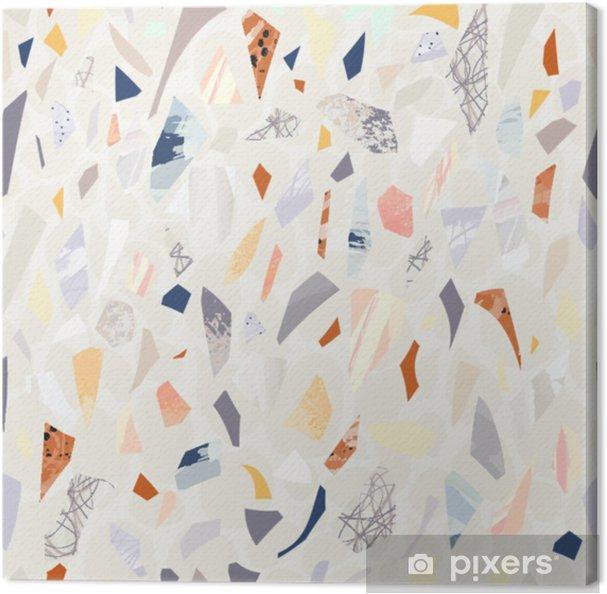 Canvas Terrazzo naadloos patroon. levendige kleuren. gestructureerde vormen. confetti. hand getrokken ontwerp. - Grafische Bronnen