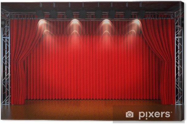 Canvas Theater podium met rode gordijnen en schijnwerpers. Theatr ...