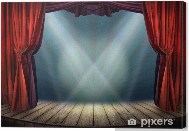 canvas theater podium met rode gordijnen en schijnwerpers