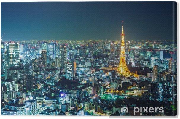 Canvas Tokyo skyline in de nacht -