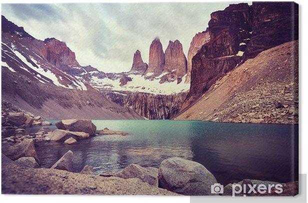 Canvas Torres del paine nationaal park, kleur getinte foto, Patagonië, Chili. - Landschappen