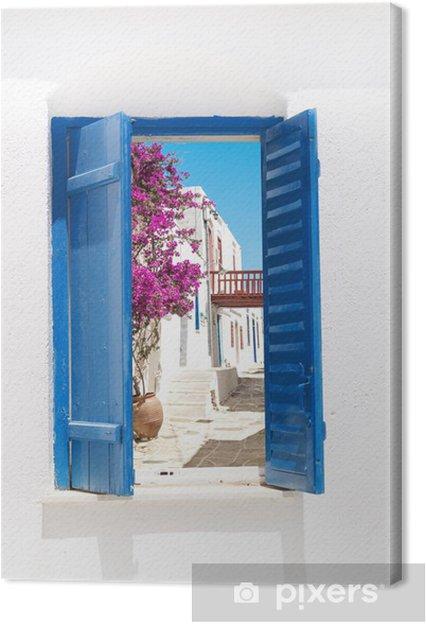 Canvas Traditionele Griekse venster op Sifnos eiland, Griekenland - Thema's