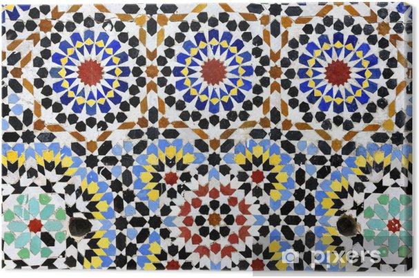 Canvas Traditionele mozaïek of zellij op fontein in Moulay Idriss - Marokko