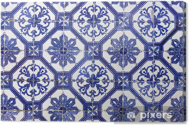 Canvas Traditionele Portugese tegels (azulejos), Lissabon, Europa - iStaging